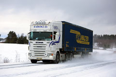 White Scania Semi Truck Transport in Winter Royalty Free Stock Photo