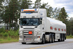 White Scania Semi Truck Transports Gasoline Royalty Free Stock Photo
