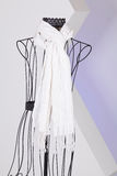 White scarf woven with fringes on mannequin. White knit scarf with fringe hanging on mannequin Stock Photo