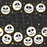 White scary faces Halloween seamless double horizontal border Stock Photography