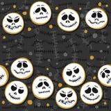 White scary faces Halloween seamless double horizontal border Royalty Free Illustration
