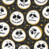 White scary faces Halloween seasonal pattern on dark background Royalty Free Stock Photo