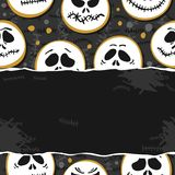 White scary faces Halloween torn paper card poster Royalty Free Stock Images