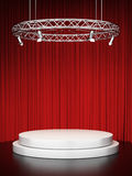 White scene and red curtains. 3d render Royalty Free Stock Images