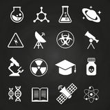 White science vector icons on chalkboard. Education school icon illustration Royalty Free Stock Photos