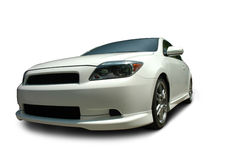 White Scion tC. Coupe isolated on white background. Clipping path on vehicle. See my portfolio for more automotive images royalty free stock images
