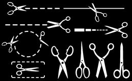 White scissors set with dotted line on black background Royalty Free Stock Photo
