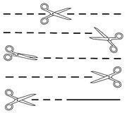 White scissors set with dotted line Stock Photos