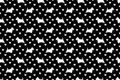 White Scottish Terriers Scottie Dogs & Hearts on Black. A seamless pattern of Scottish Terriers and hearts. The cute white `Scottie` dogs are scattered with the stock illustration