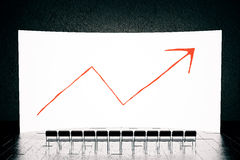 White screen with chart arrow Royalty Free Stock Images