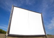 White screen for cinema on outdoor Royalty Free Stock Image