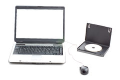 White screen in laptop and DVD box Royalty Free Stock Images