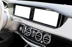 White Screen system display for GPS Navigation and Multimedia as automotive technology in car. white copy space of touch screen. Royalty Free Stock Image
