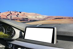 White Screen system display for GPS Navigation and Multimedia as automotive technology in car. white copy space of touch screen. Royalty Free Stock Photography