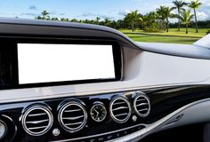 White Screen system display for GPS Navigation and Multimedia technology in car. White copy space of touch screen. Car dashboard Royalty Free Stock Photography