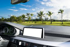 White Screen system display for GPS Navigation and Multimedia technology in car. White copy space of touch screen. Car dashboard Stock Photography