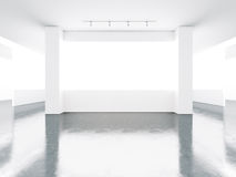 White screens in museum interior with concrete Royalty Free Stock Images