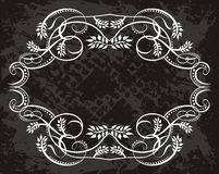 White Scroll Frame on Black Royalty Free Stock Photography
