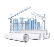 White scrolls about tower crane and skyscrapers Stock Images