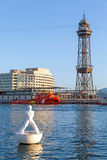 White sculpture on the buoy in Barcelona port Royalty Free Stock Photos