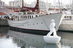 White sculpture on the buoy, Port Vell, Barcelona Royalty Free Stock Photography
