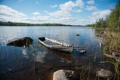 White sea boats. White sea. Russian nord. Polar circle. Boats in Nilmo Guba Stock Photos