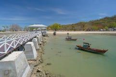 White sea bridge. Historical white sea bridge at Sichang island, Thailand Stock Photography