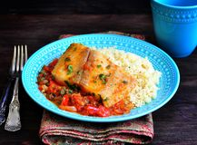 White sea fish cooked in a spicy tomato sauce with sweet pepper, cumin, garlic and coriander. Stock Images