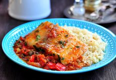 White sea fish cooked in a spicy tomato sauce with sweet pepper, cumin, garlic and coriander. Royalty Free Stock Photos