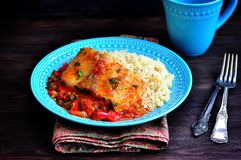 White sea fish cooked in a spicy tomato sauce with sweet pepper, cumin, garlic and coriander. Stock Photography