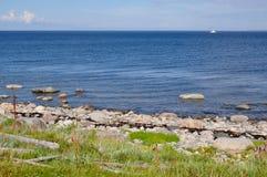The White Sea and its shore on the Bolshoi Island of Zayatsky Solovetsky Archipelago Stock Images