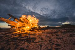 Fire on the sea stock photography