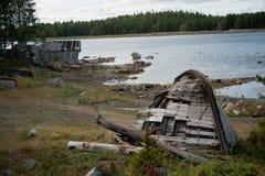 White sea boats. White sea. Russian nord. Polar circle. Old boats in Nilmo Guba Royalty Free Stock Photography