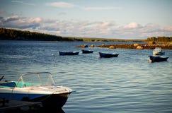 White Sea shore landscape with boats Stock Photo