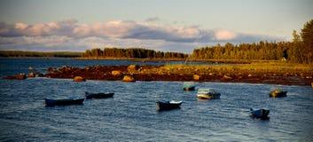 White Sea shore landscape with boats Stock Image
