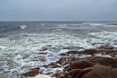 White sea storm landscape with stones Stock Images
