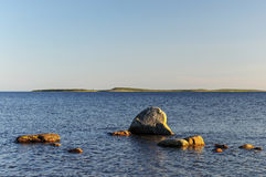 White sea at sunset Stock Image