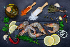 White Seafood Shrimps with Cooking Ingredients and Spices Royalty Free Stock Photos