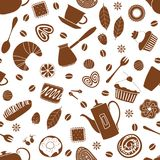 White seamless background with brown images of different desserts and items for tea and coffee. vector illustration
