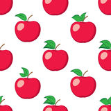 White seamless background with red apples - vector pattern Stock Images