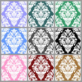 White seamless damask Ornament. Set of nine Colors Royalty Free Stock Images