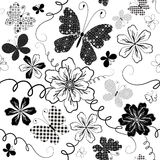 White seamless floral pattern Stock Photography