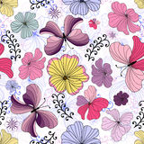 White seamless floral pattern Stock Image