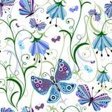 White seamless floral pattern Stock Photo