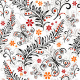 White seamless floral pattern. White effortless floral pattern with flowers and butterflies Royalty Free Stock Photography