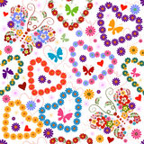 White seamless floral valentine pattern Stock Photo