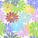White seamless grunge floral pattern Stock Images