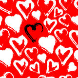 White seamless heart pattern isolated on red. Vector watercolor Royalty Free Stock Image