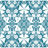 White seamless lace on blue pattern Stock Photography