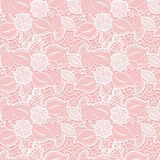 White seamless lace floral pattern on pink background. Stock Image